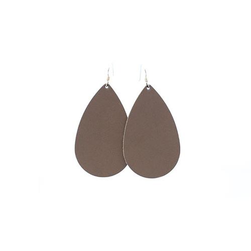 Stone Leather Earrings Sterling silver ear wire  Nickel free