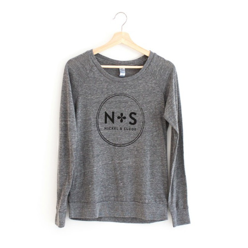 N&S Gray Graphic Slouchy Pullover Logo