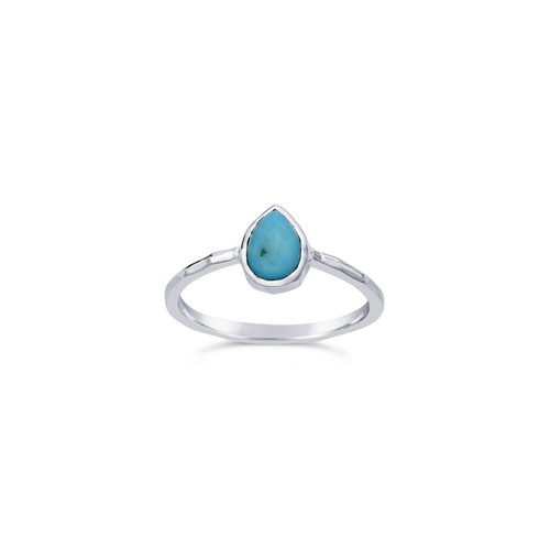 Turquoise Pear Sterling Silver Ring