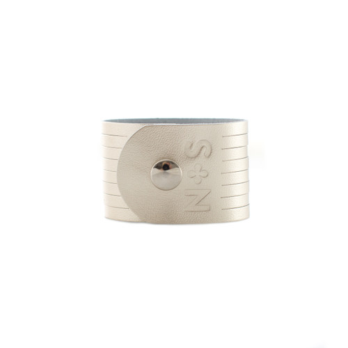 N&S Signature Platinum Slit Leather Cuff Silver snap