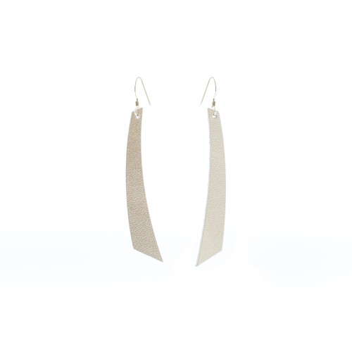 N S Signature Champagne Accent Leather Earrings