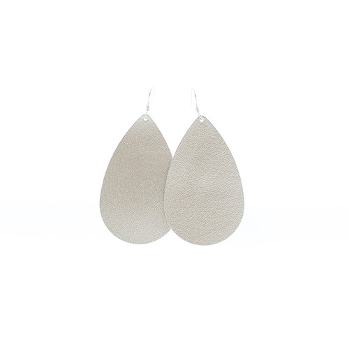 N S Signature Champagne Leather Earrings