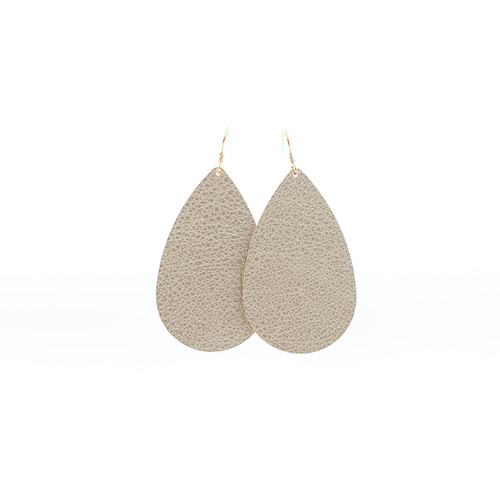 Nickel & Suede Leather Earrings │Champagne Shimmer