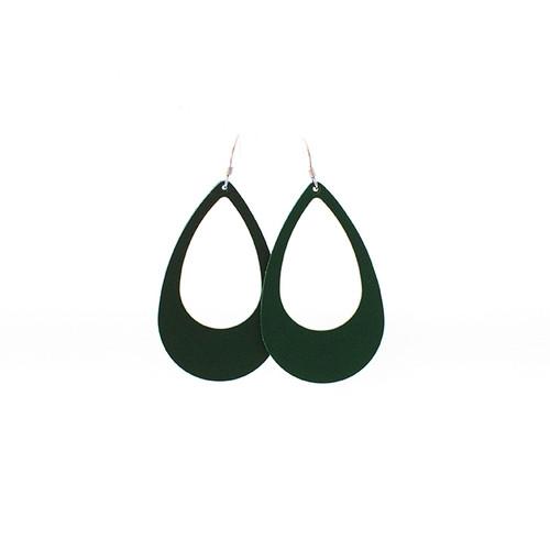 N&S Select Green Leather Earrings Sterling silver ear wire  Nickel free