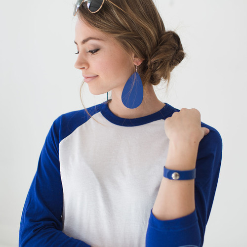 N&S Select Blue Leather Earrings