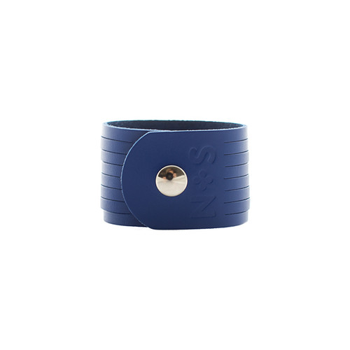 N&S Select Blue Slit Leather Cuff  Silver snap