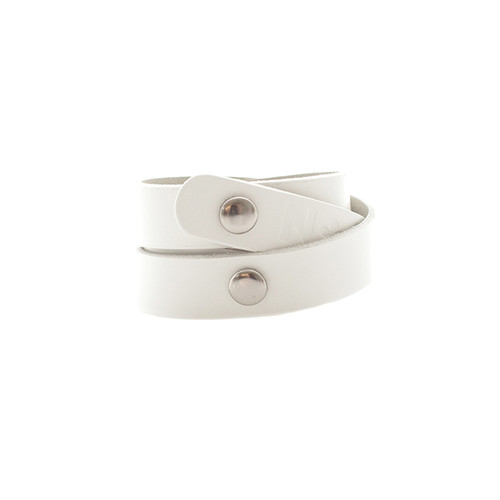 N&S Select White Wrap Leather Cuff  Silver snaps