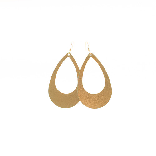 N&S Signature Gold Cut-Out Leather Earrings