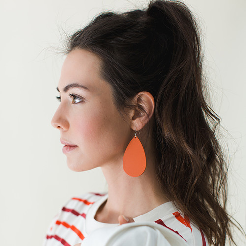 N&S Select Orange Leather Earrings