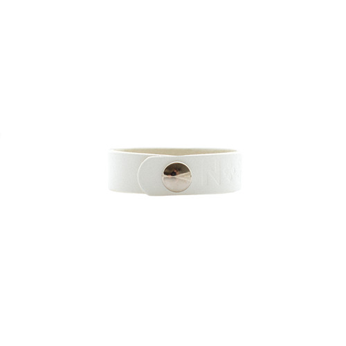 N&S Select White Thin Leather Cuff Silver snap