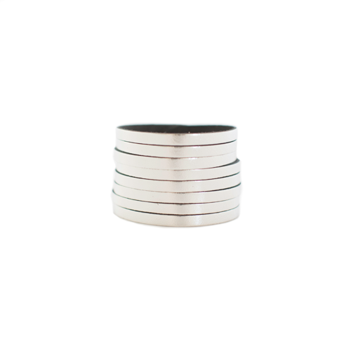 N&S Signature Silver Slit Leather Cuff
