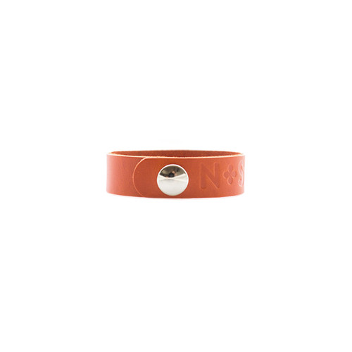 N&S Select Orange Thin Leather Cuff  Silver snap