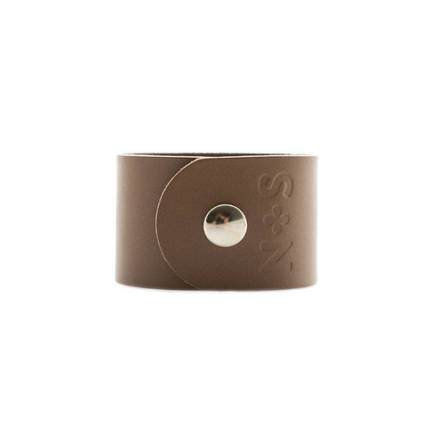 Stone Wide Leather Cuff  Silver snap