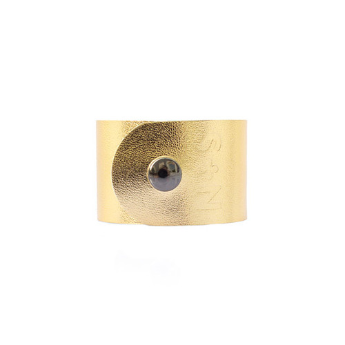 N&S Signature Gold Wide Leather Cuff  Gunmetal snap
