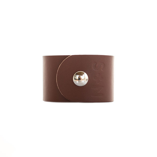 Brown Wide Leather Cuff Silver snap