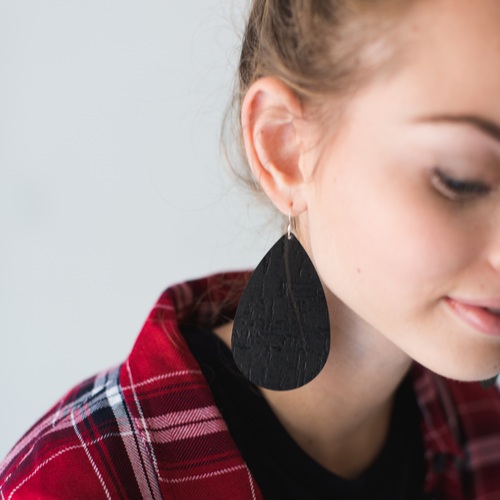 Nickel & Suede Leather Earrings │Black Cork