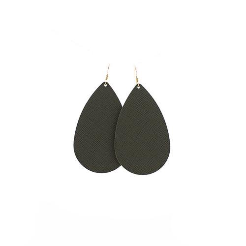 Green Fatigue Leather Earrings 14 kt gold-filled ear wire  Nickel free