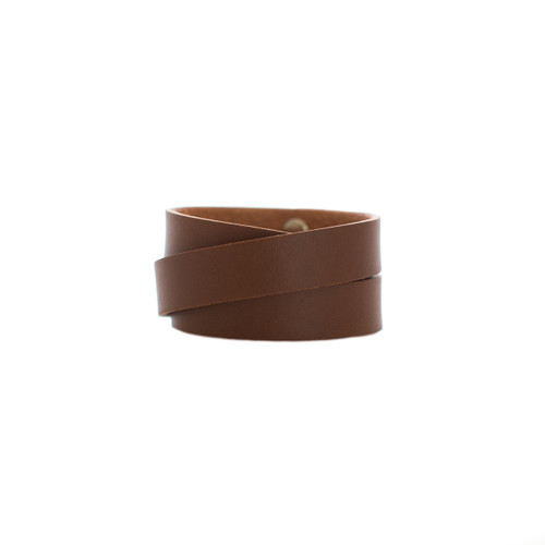 Nickel & Suede Leather Cuff | Brown Wrap