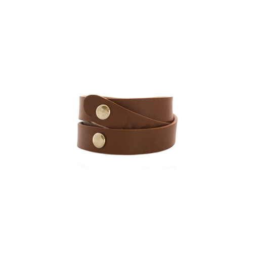 Brown Wrap Leather Cuff  Silver snaps