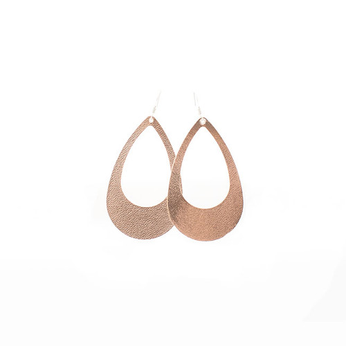 N&S Signature Rose Gold Cut-Out Leather Earrings
