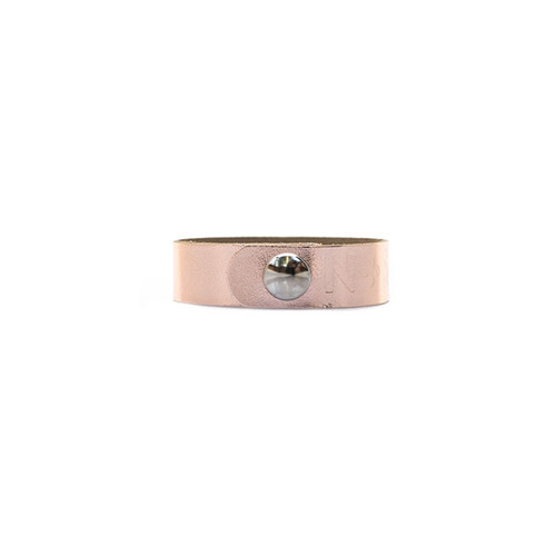 N&S Signature Rose Gold Thin Leather Cuff Silver snap