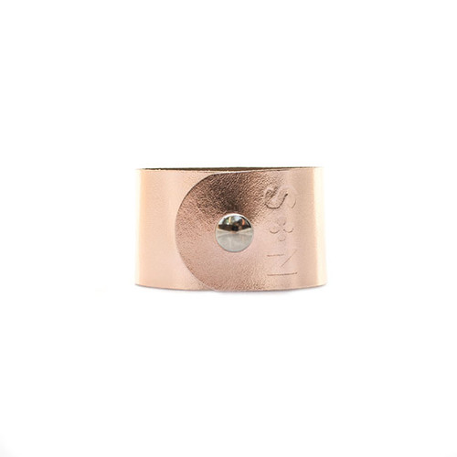 N&S Signature Rose Gold Wide Leather Cuff Silver snap