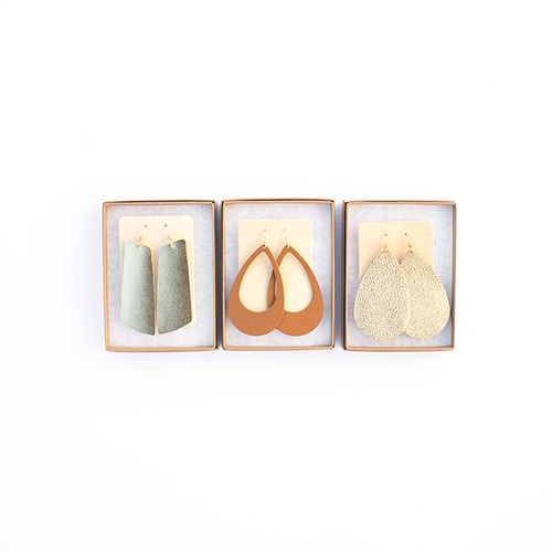 N&S Leather Earrings Gift Set- GOLD N&S Signature Gold Gems, London Tan Cut-Outs, Matte Gold