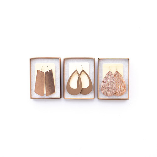 N&S Leather Earrings Gift Set- ROSE GOLD N&S Signature Rose Gold Gems, Stone Cut-Outs, Rose Gold