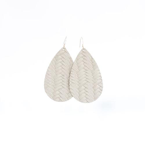 Ivory Knit Leather Earrings Sterling silver ear wire Nickel free