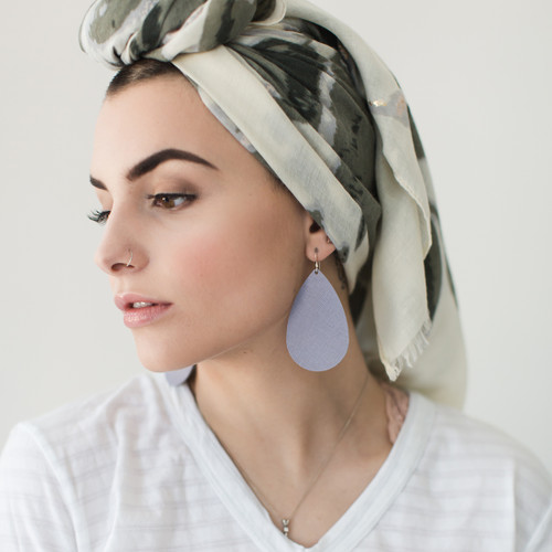 Lilac Gray Leather Earrings