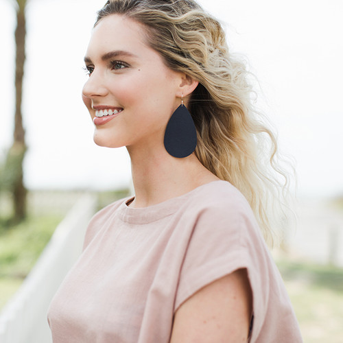 Navy Baby Leather Earrings