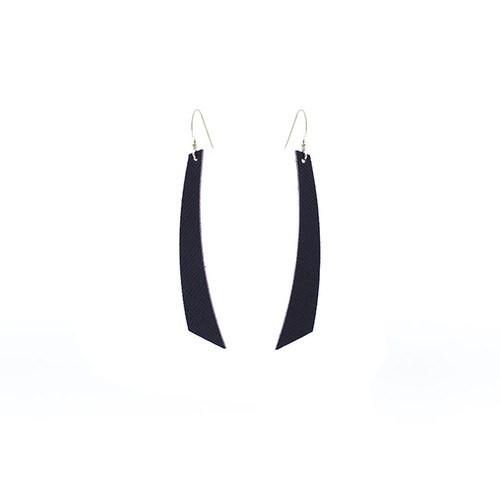 Navy Baby Accent Leather Earrings  Sterling silver ear wire Nickel free
