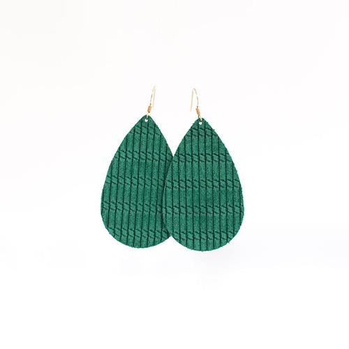 Spearmint Cord Leather Earrings  14 kt gold-filled ear wire Nickel free