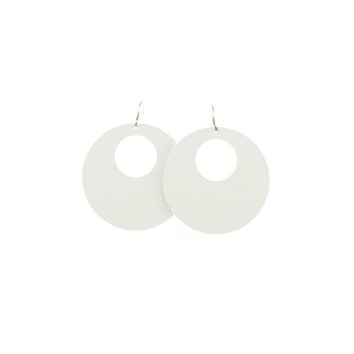 N&S Select White Nova Leather Earrings Sterling silver ear wire  Nickel free