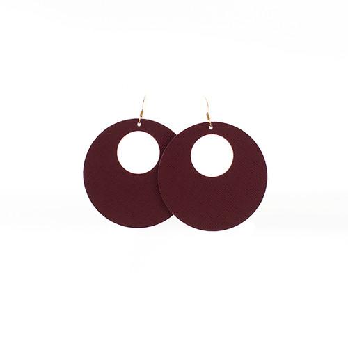Merlot Nova Leather Earrings  14kt gold-filled ear wire Nickel free