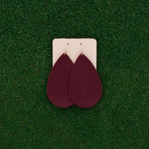 TEAM Maroon Leather Earrings