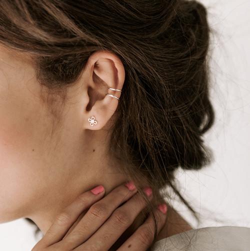 Nickel & Suede Stud Earrings | N&S Signature Silver
