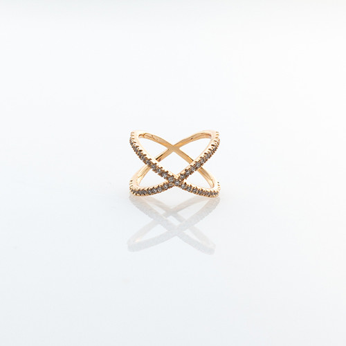 Nickel & Suede Ring | Gold Crisscross