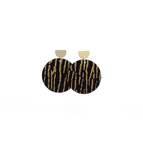 Gold Rush Disc Statement Leather Earrings with Gold Post