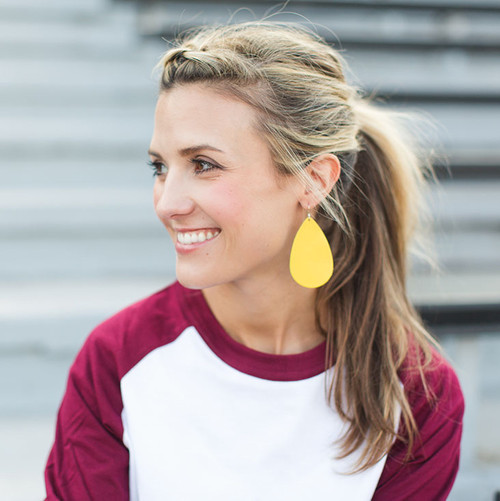 TEAM Yellow Leather Earrings