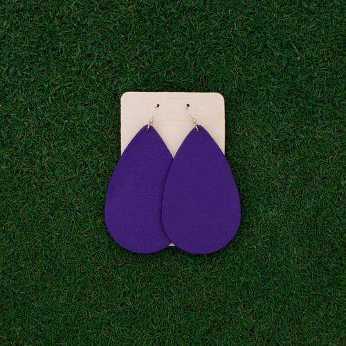 Nickel & Suede Leather Earrings │TEAM Purple