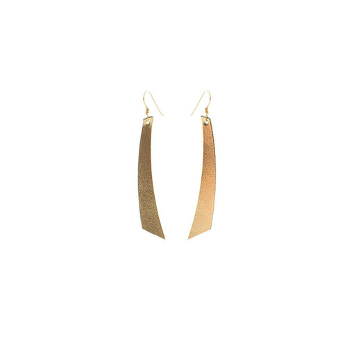 Nickel & Suede Leather Earrings │N&S Signature Gold Accent