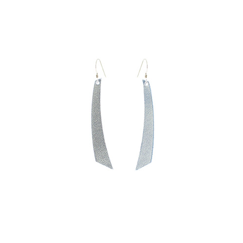 N S Signature Silver Accent Leather Earrings