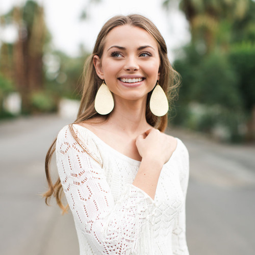 Nickel & Suede Leather Earrings │Soft Gold