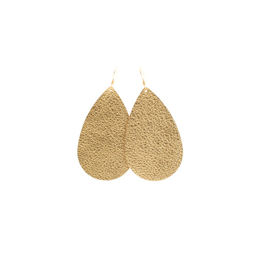 Soft Gold Leather Earrings