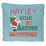 Blue Christmas Cushion cover with Stunning Personalised Christmas Cushion design featuring Santa with a Christmas tree and sack of presents, with beautiful wooden block font for 'my first christmas'