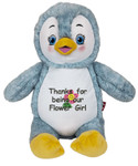 A message from the heart embroidered onto a Personalised Hug-Me Cubby - Signature Penguin