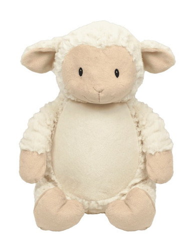 personalised Woolly Lamb Cubby with birth details