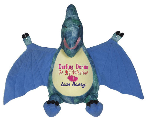 Personalised Message Bear - Blue Dinosaur Embroider Buddy