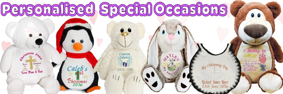 special gifts for special occasions. Christening Bear, Remembrance bears, Christmas, Easter, Birthdays